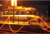 Sprinter train with artistic lights by camera exposure trick.