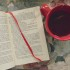 Photo of an open book next to a cup of tea