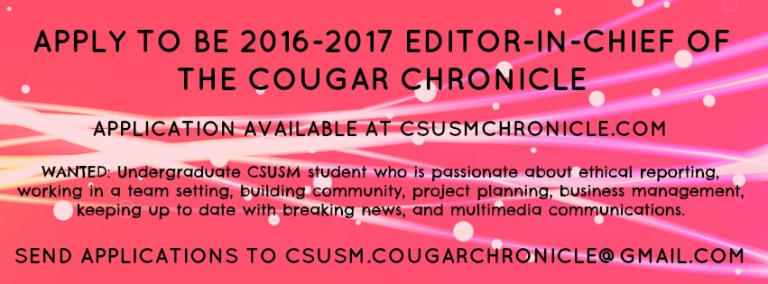 Apply to be 2016-2017 Editor-in-Chief of The Cougar Chronicle