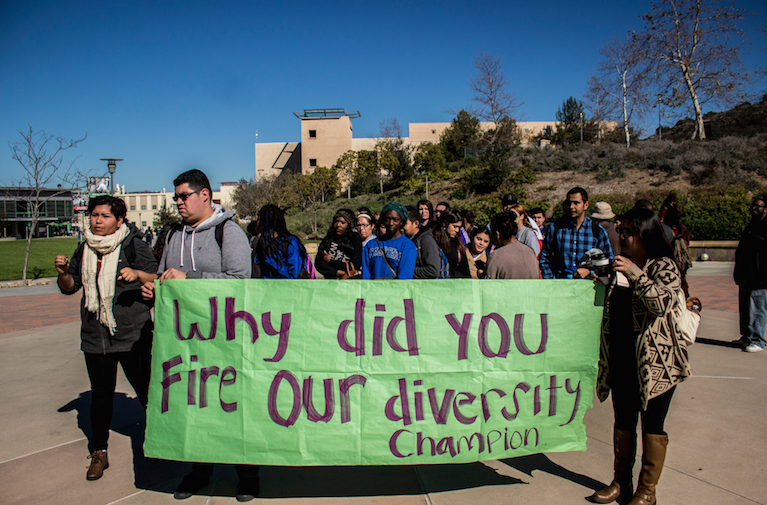 Students protest changes to Office of Diversity and departure of Arturo Ocampo from AVP position