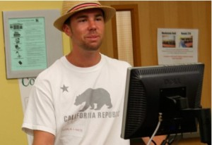 photo of Matt Weaver at campus computer