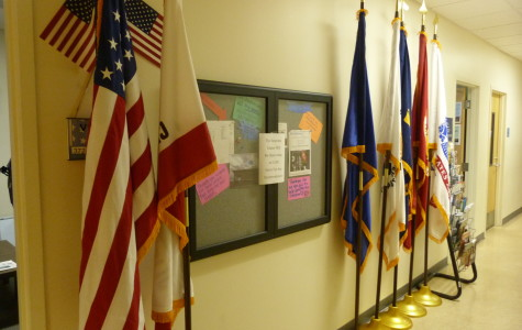 flags in front of wall