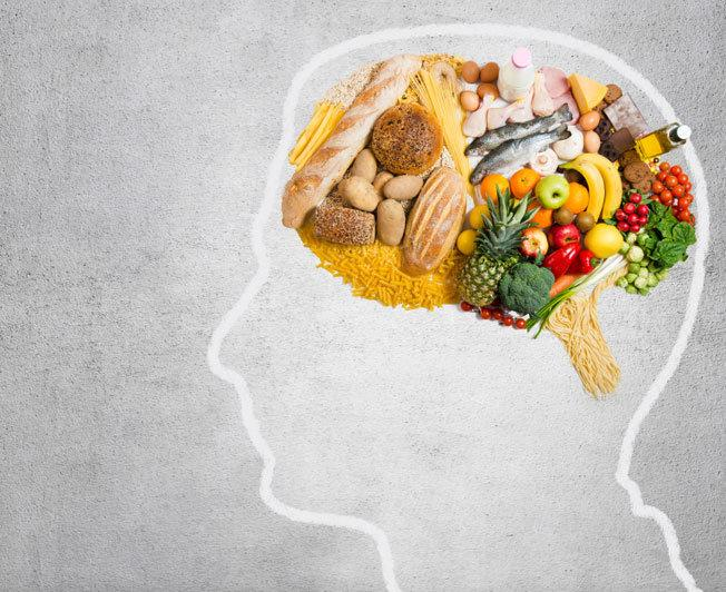 Artistic representation of food in picture of brain