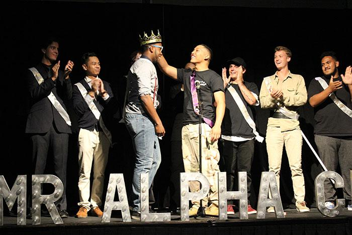 Alan Brown is crowned at the 12th annual Mr. Alpha Chi pageant.