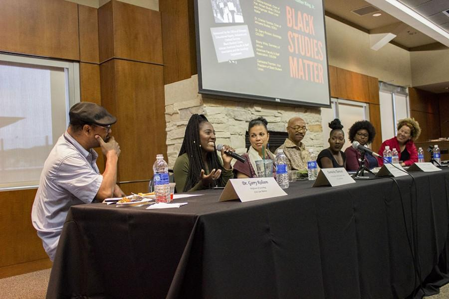 Panelists from left to right: Dr. Garry Rolison, Darniesha Thornton, Dr. Melina Abdullah, Dr. Charles  Toombs, Daniesha Thornton, Ebony Wiley and Dr. Sharon Elise.