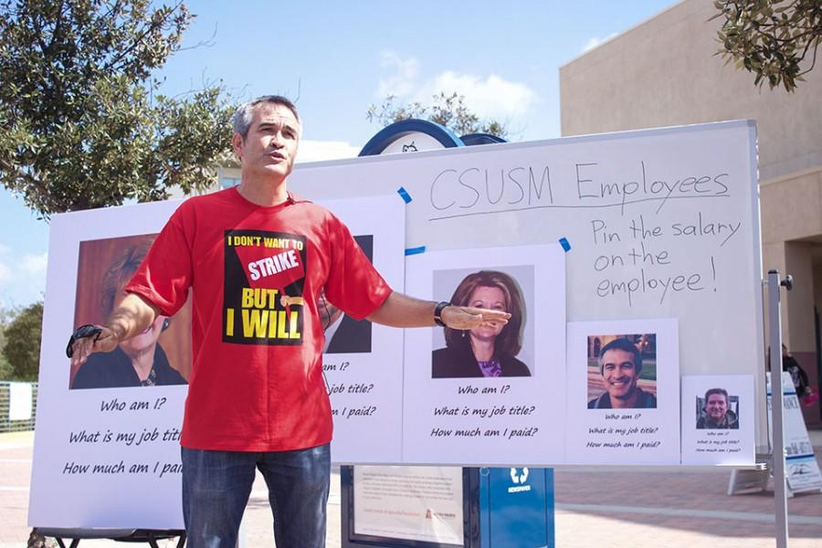 Dr. Darel Engen, president of the CSUSM chapter of CFA, discusses employee pay and the potential for  a faculty strike at a rally in Chavez plaza in October 2015.