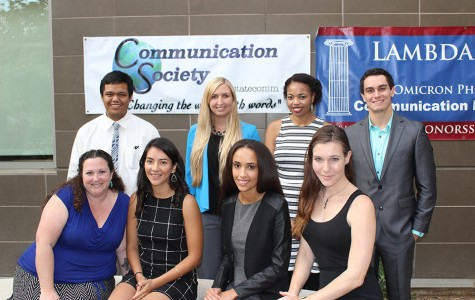 The Communication Society officers at the Communication Department Meet and Greet at the SBSB courtyard.