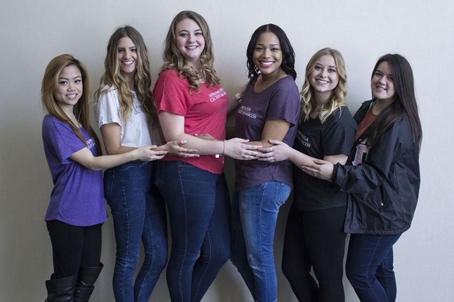 Sorority Representatives from left to right: Jacy Ann Fong, Angel DiMaria, Adelle Brophy, Tiffany Angel, Kayla Snow and Melanie Arteaga.