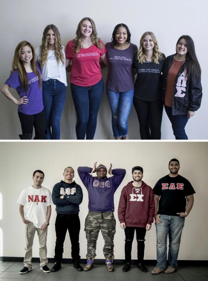 Sororities representatives (top) Left to right: Jacy Ann Fong, Angel DiMaria, Adelle Brophy, Tiffany Angel, Kayla Snow and Melanie Arteaga. / Fraternities representatives (bottom)  Left to right: Nathan Contreras, Joshua Foronda, Dwaine Collier, Kariar Al-naiem, Andre Gatewood.
