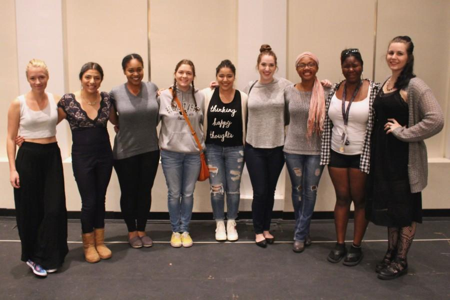 The+nine+actresses+from+CSUSM+Theatre%27s+rendition+of+Arlene+Hutton%27s+%22As+it+is+in+Heaven.%22