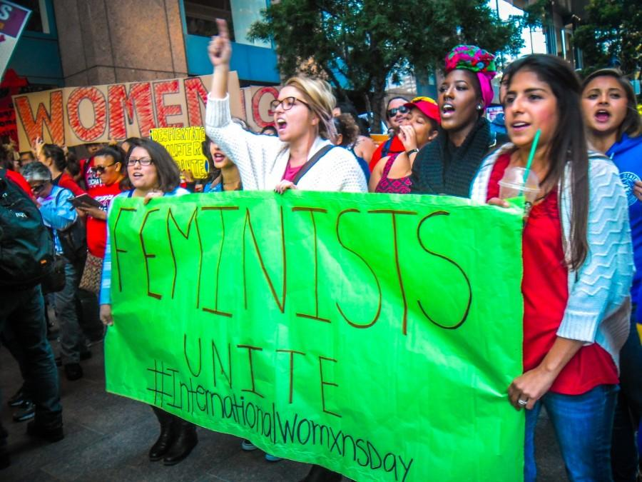 Members+of+CSUSM%27s+Feminists+Unite+group+march+on+International+Women%27s+Day.