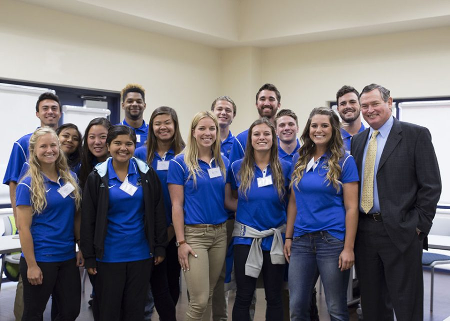 CSU+Chancellor+Timothy+White+poses+with+Student-Athlete+Advisory+Council+on+Monday%2C+April+25+at+the+new+Sports+Center.