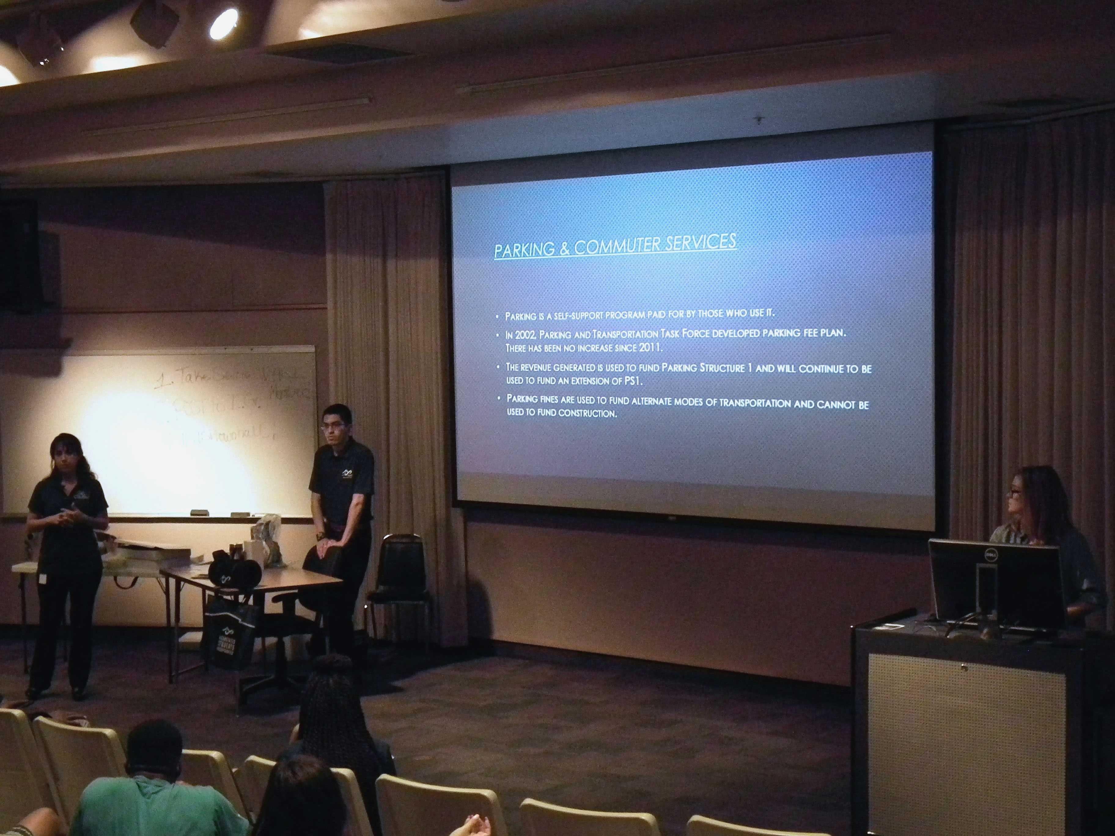Chris Morales speaks at the ASI town hall on April 21.