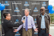 Head Track & Field coach, Steve Scott, being interviewed alongside his Assistant coach, Wes Williams, at the 7th Annual Student Athlete Awards Banquet on April 11th.