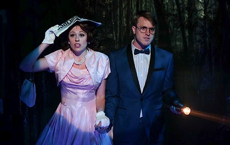 """Perkins and Caltrider star as Janet and Brad in the Cygnet Theatre  production of """"Rocky Horror Picture Show"""" in Old Town, San Diego."""
