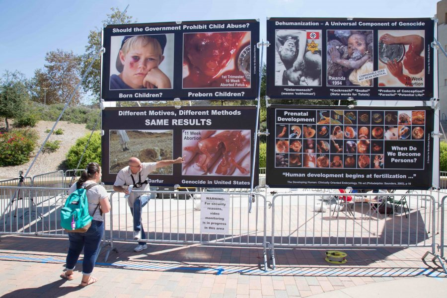 Anti-abortion+display+towers+over+Kellogg+Plaza%2C+sparks+student+counter-protest