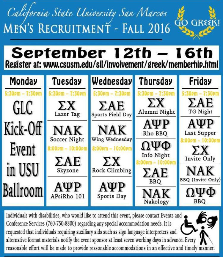 CSUSM fraternities hosts Rush Week