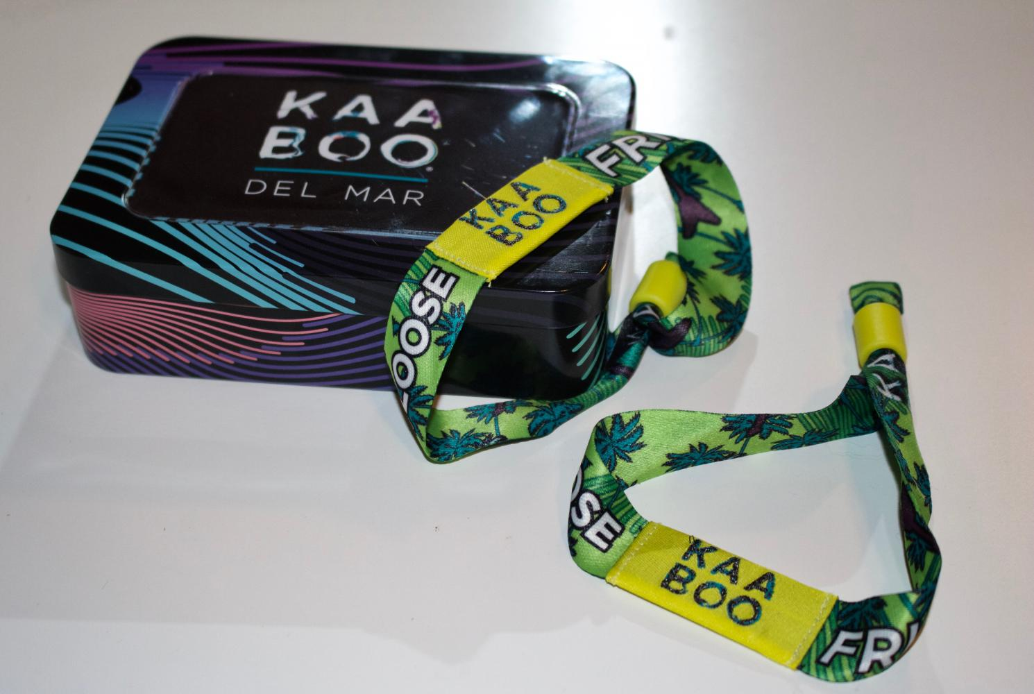 No paper ticket needed, you will receive your personal wristband in the mail. KAABOO also introduces for the first time cashless pay when you link your festival wristband to your credit or debit card.