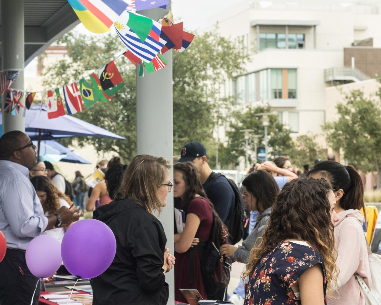 Students of CSUSM gather to obtain information about study abroad opportunities.
