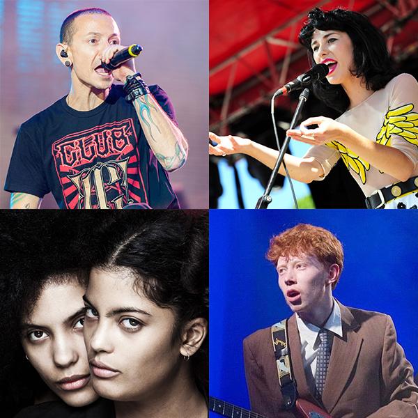 Clockwise from upper left: Chester Bennington of Linkin Park, Kimbra, King Krule, and Ibeyi.