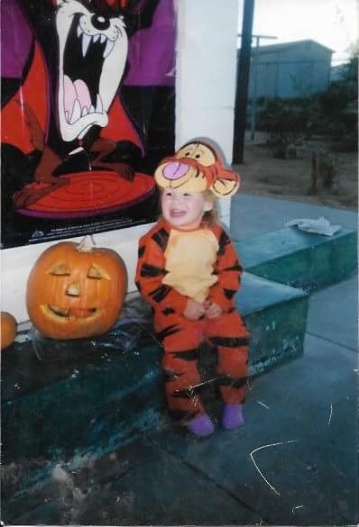 Meghan Taylor, at two-years-old, in a tiger costume on Halloween.