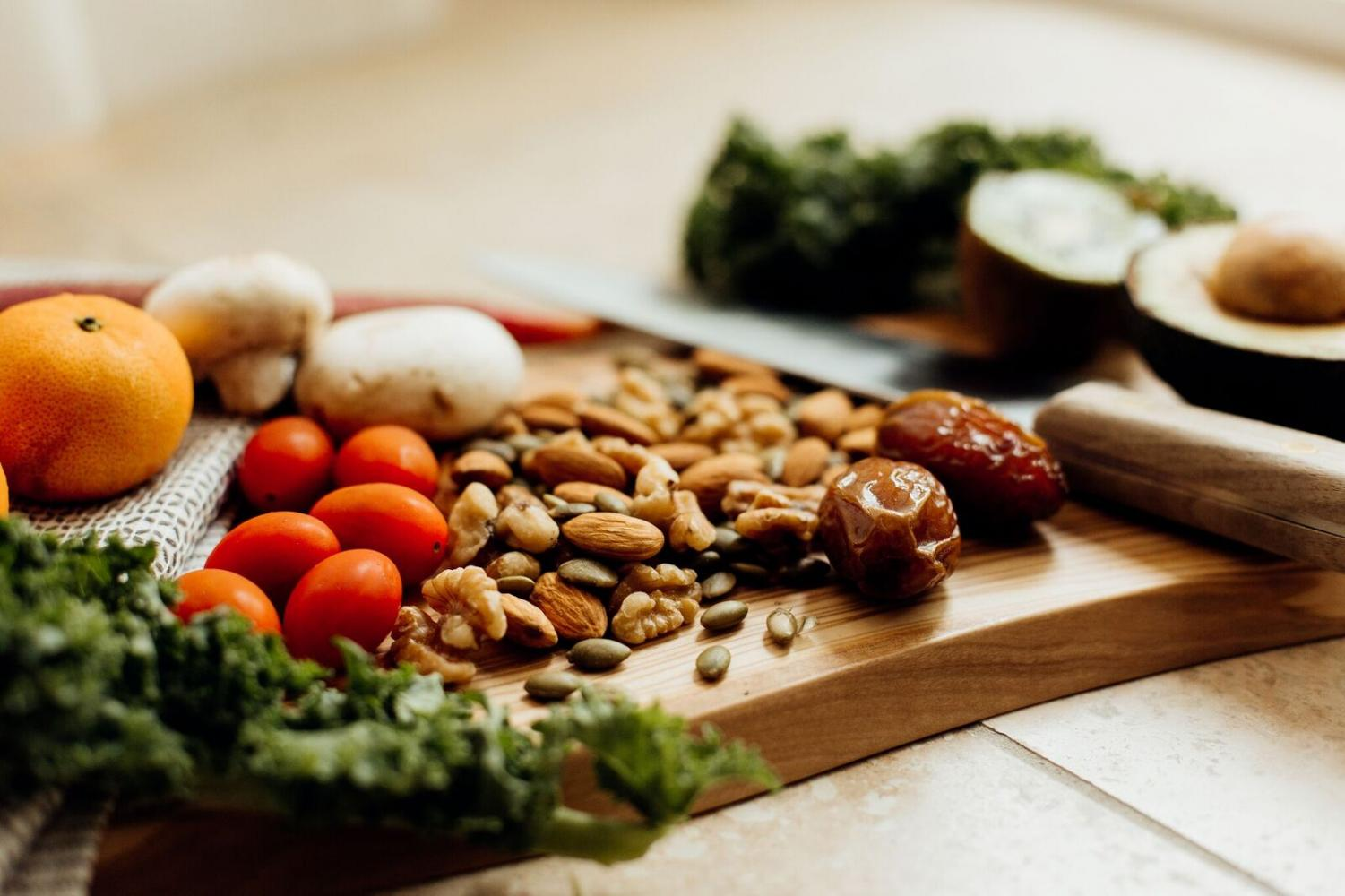 Nuts, seeds, fruits, and leafy vegetables are versatile staples to  a plant-based lifestyle.