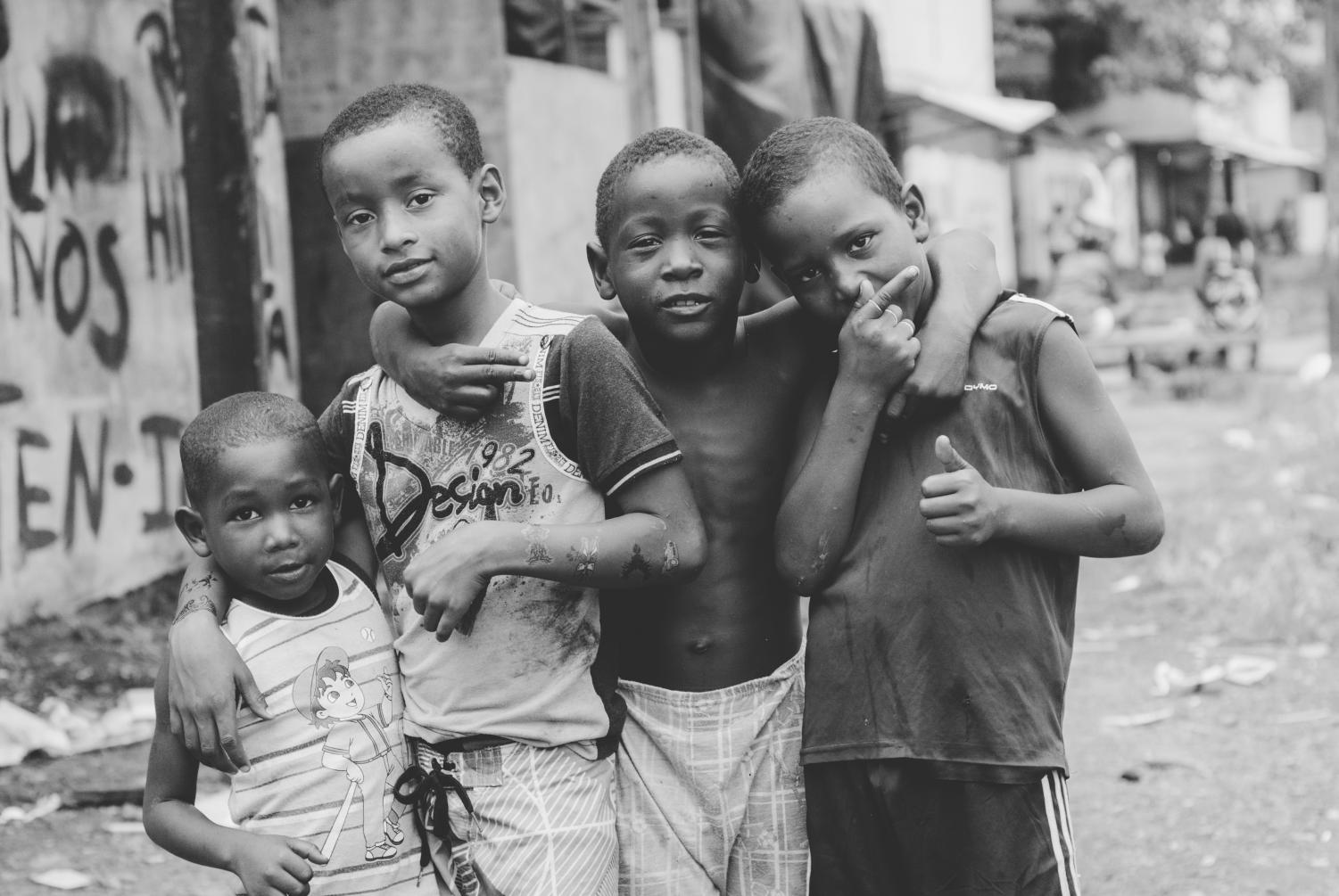 On Aug. 13, 2014, young boys pose for the camera in the slums of Curundú, a subdivision of Panamá City, Panamá.