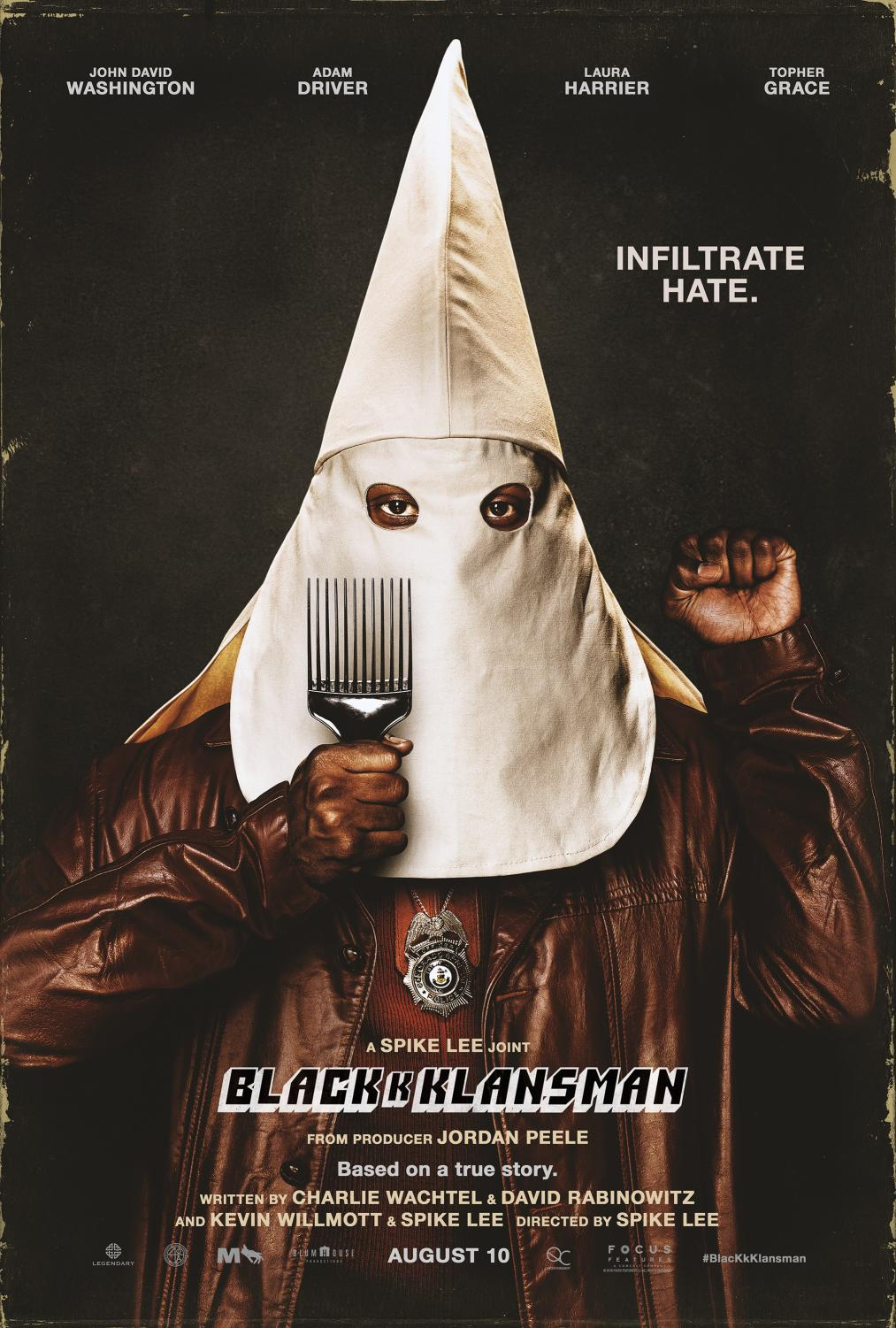 Promotional poster for Spike Lee's BlacKkKlansman, a Focus Features release.