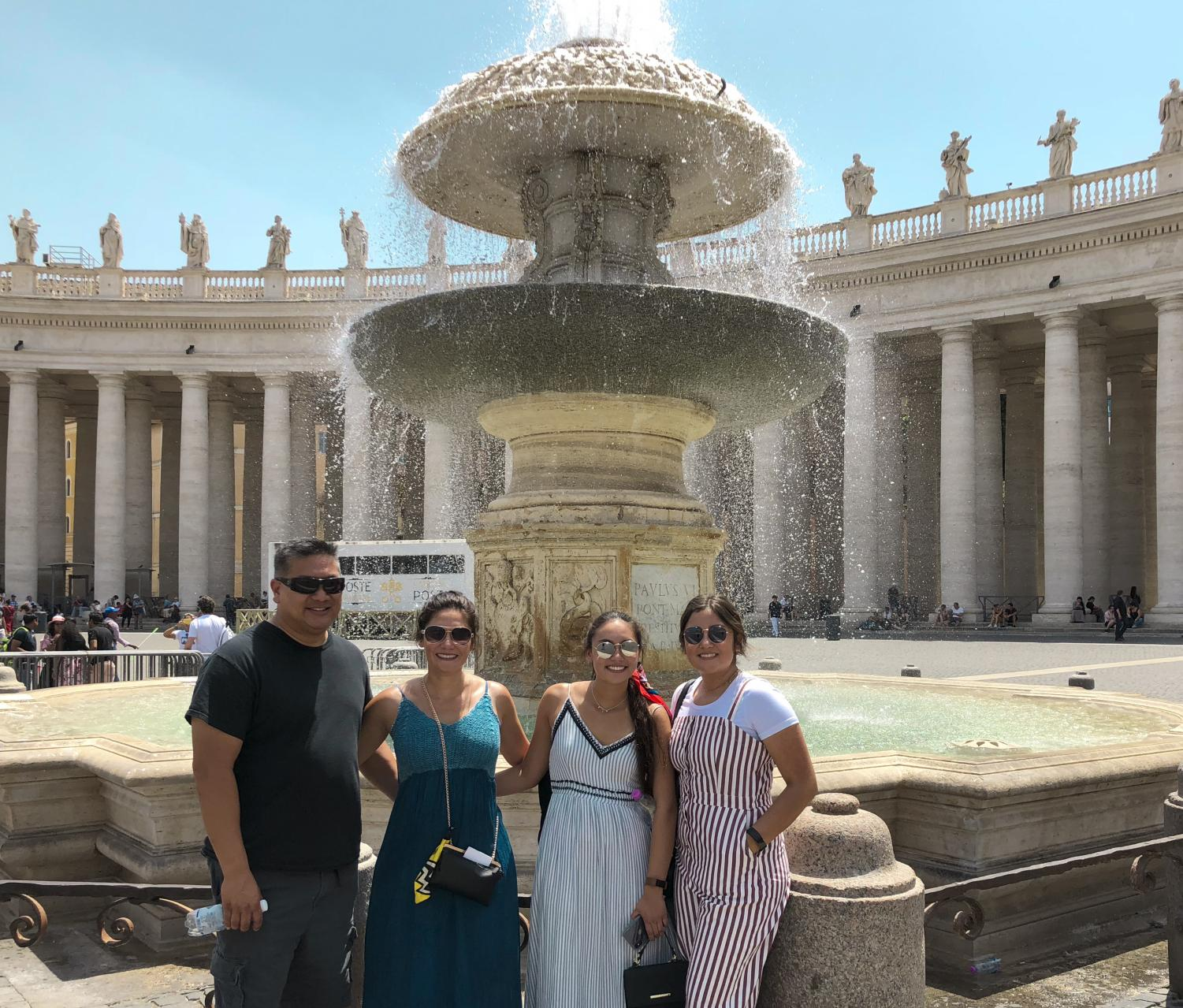 Annelisa Zamora, with family, enjoys her summer vacation at Vatican City, Italy on July 1,2018.