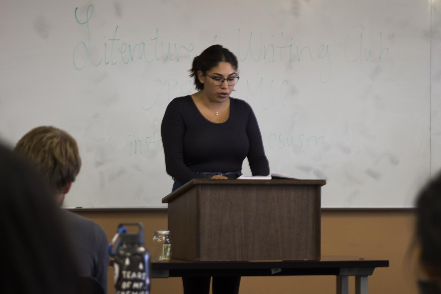 Members of CSUSM's Literature and Writing club share their writing during an open mic event on Oct 3.