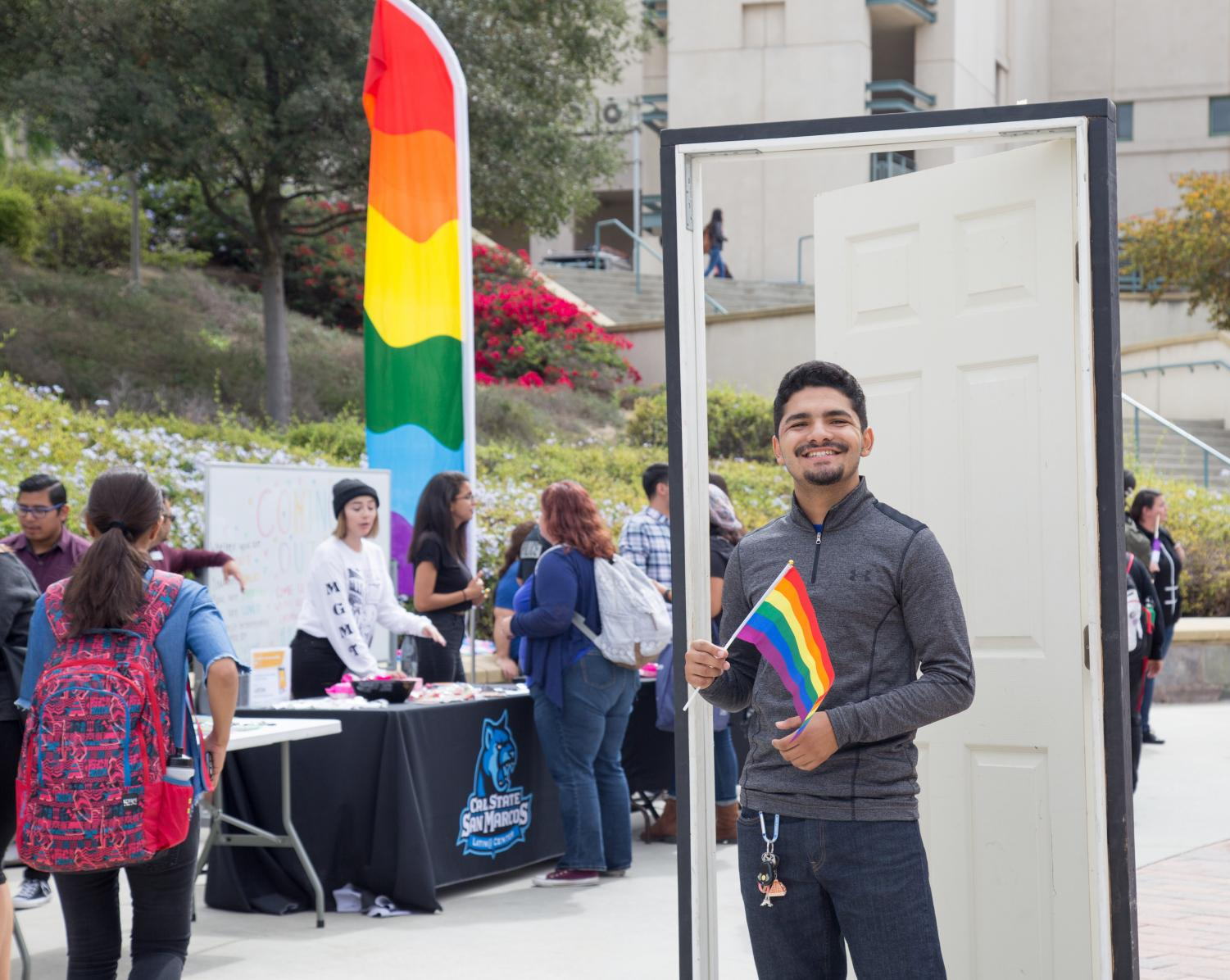 Gabriel Castellanos poses for a photo on National Coming Out Day on Oct. 11.