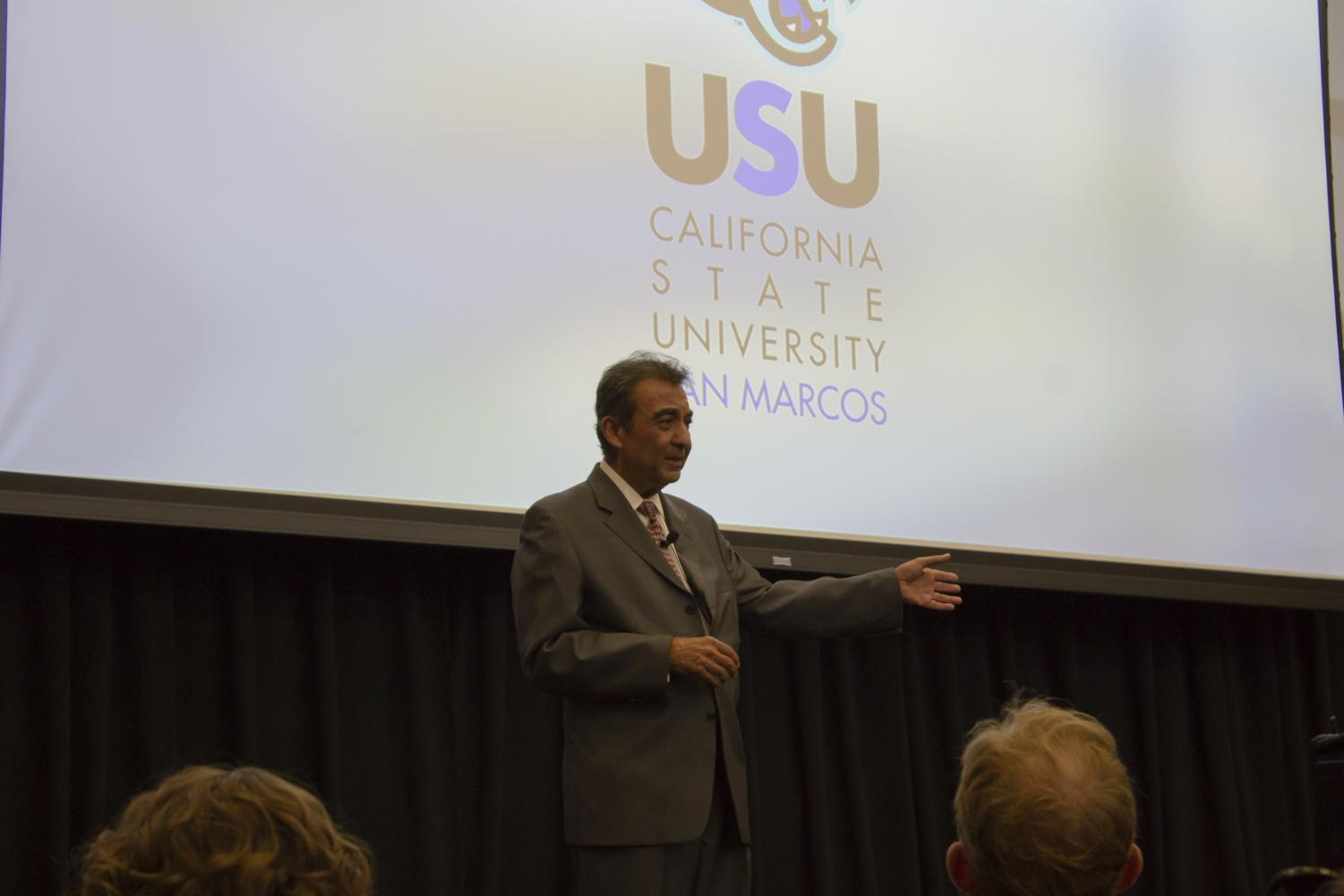 Award winning author and peace activist Azim Khamisa speaks to audience members at the USU ballroom on Sept. 27.