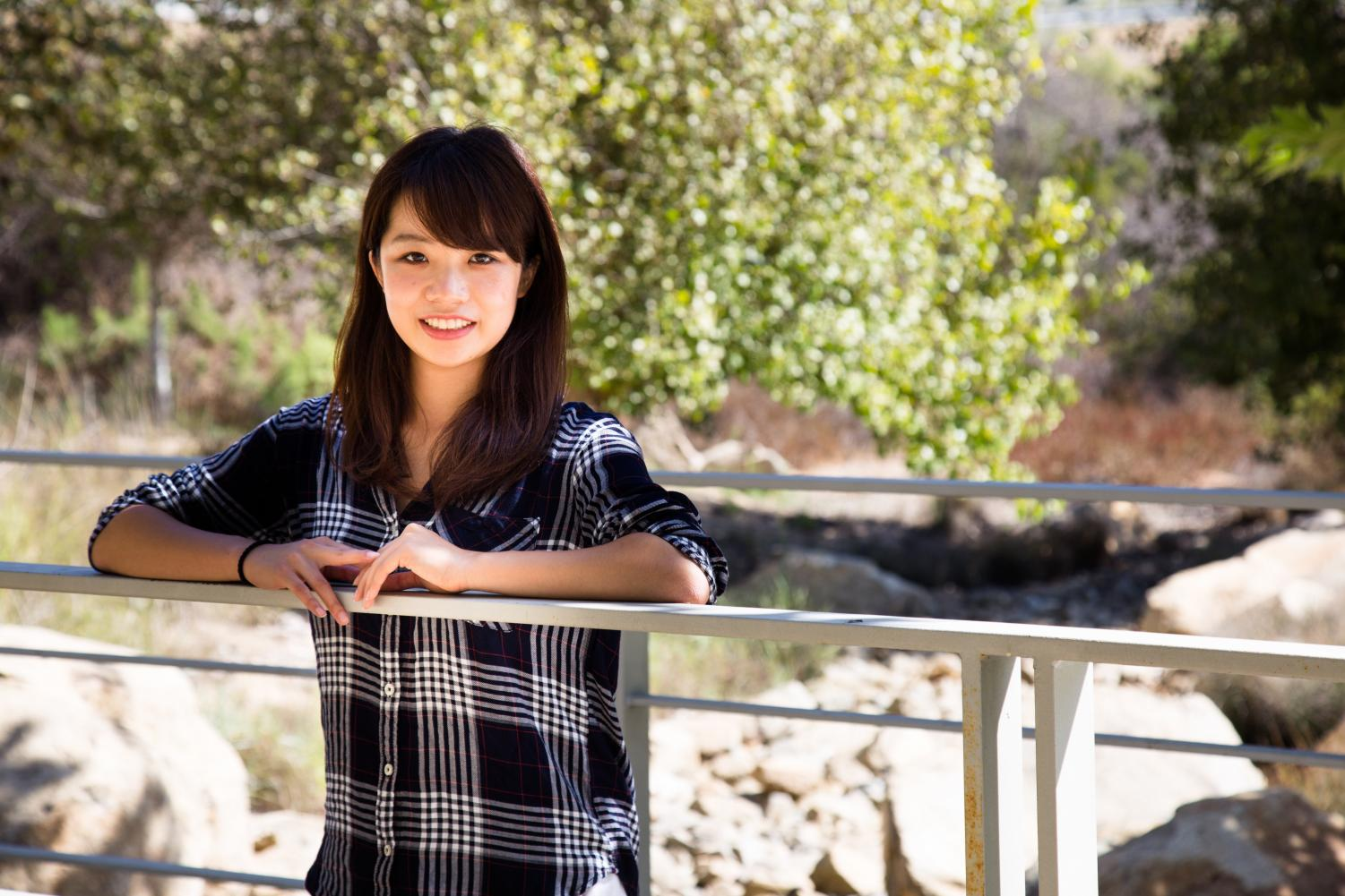 Maki Amano poses for photograph on a sunny day at CSUSM.
