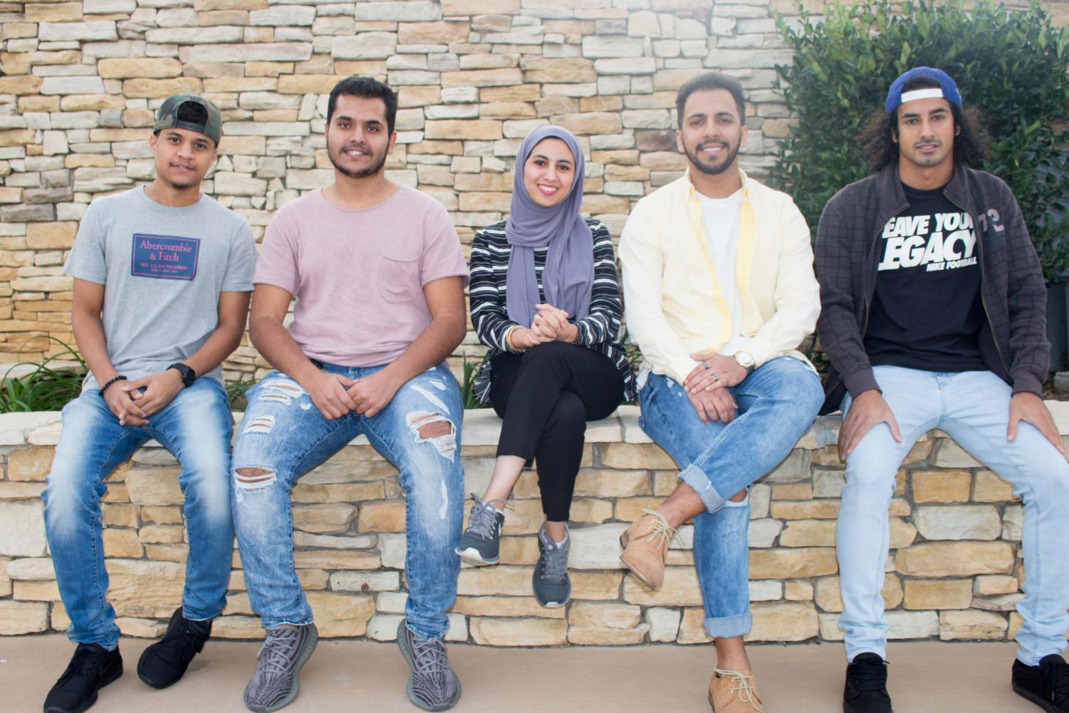 Students Bayan Sairafi, Abdulaziz Alamro, Turki Alotaibi, Abdulrahman Alolowi and Abdullah Banawas from the Saudi Students Association pose for a photo on Nov. 13.
