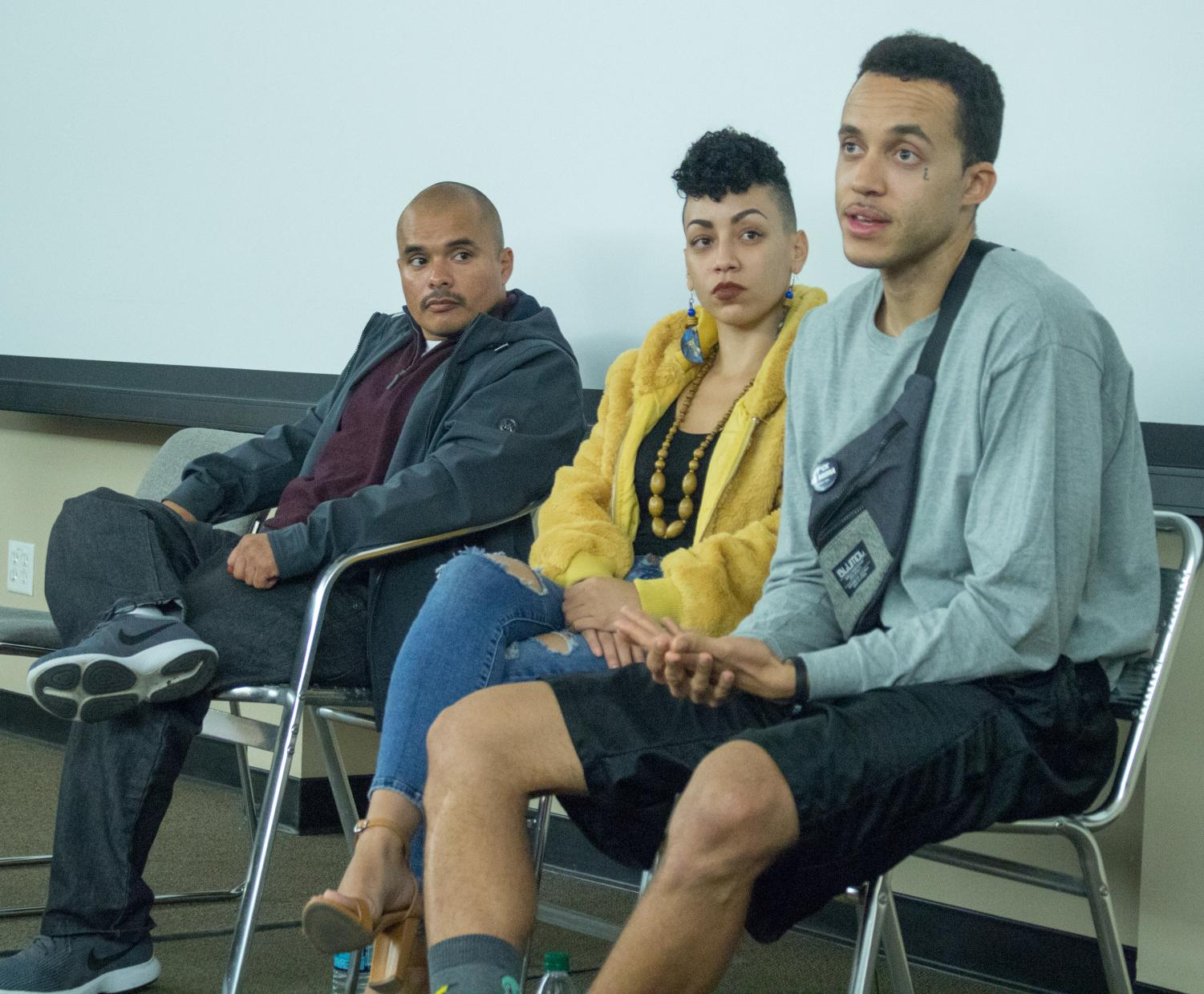 Richie Edmond-Vargas, Hugo Gonzalez, and Taina Edmond-Vargas sit in a panel on Nov 14. answering questions about their documentary Feminist in Cell Block Y.