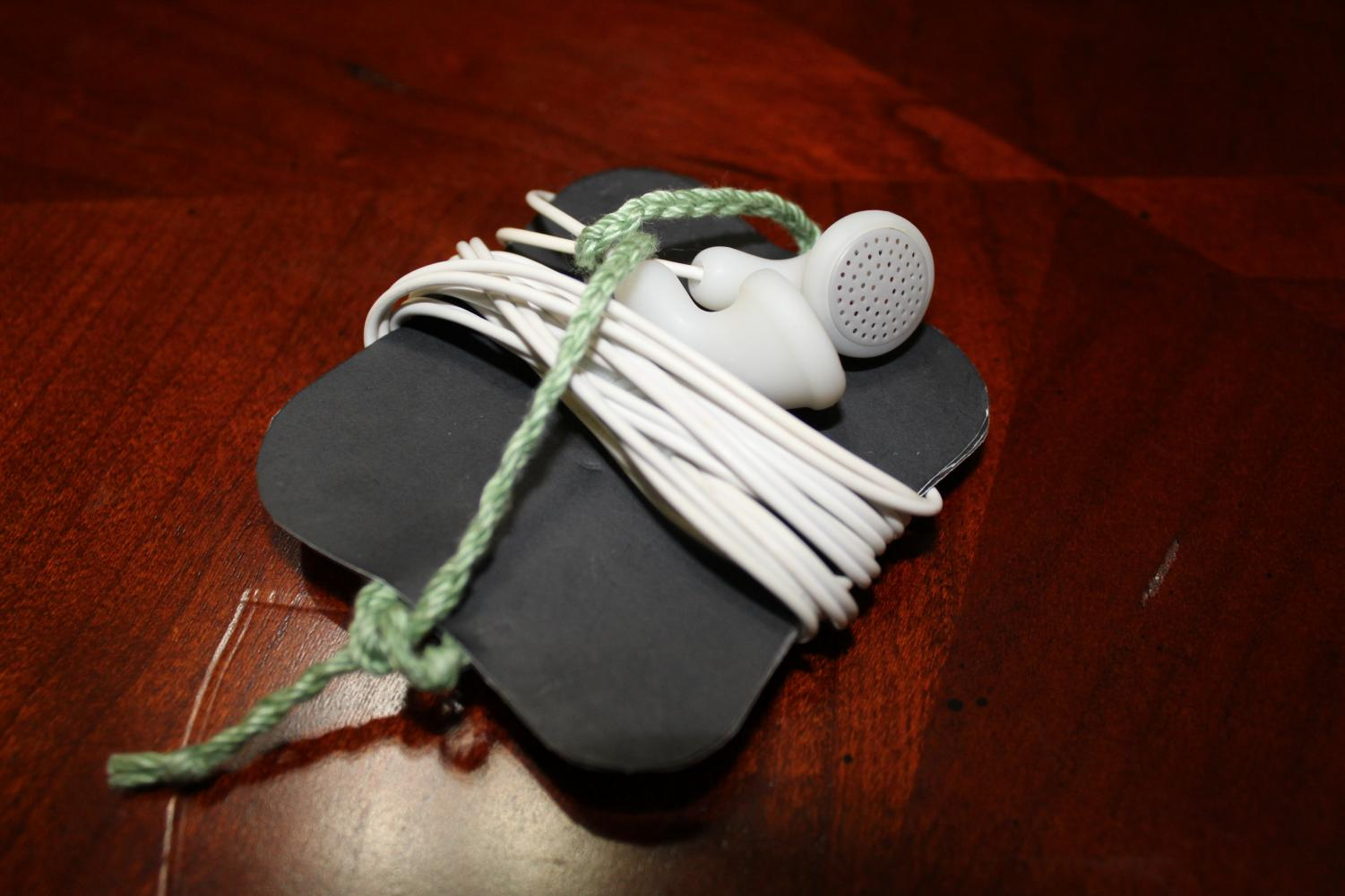 An example of the DIY earbud holder.