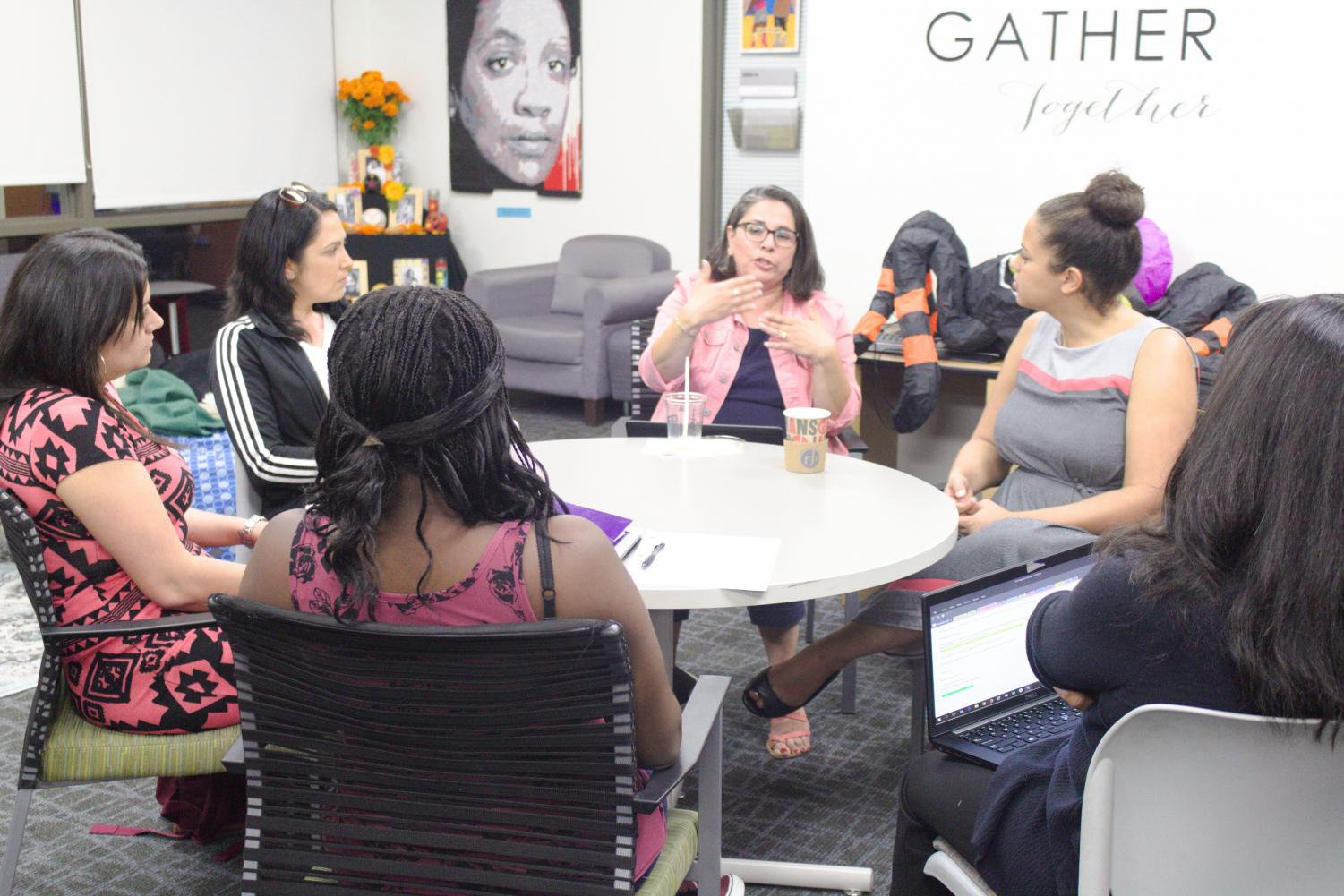 In the Gender Equity Center students talk about the experience of being pregnant in college on Oct. 25.