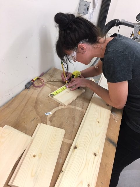 Sarah Bricke works in the wood- shop on Oct. 25.