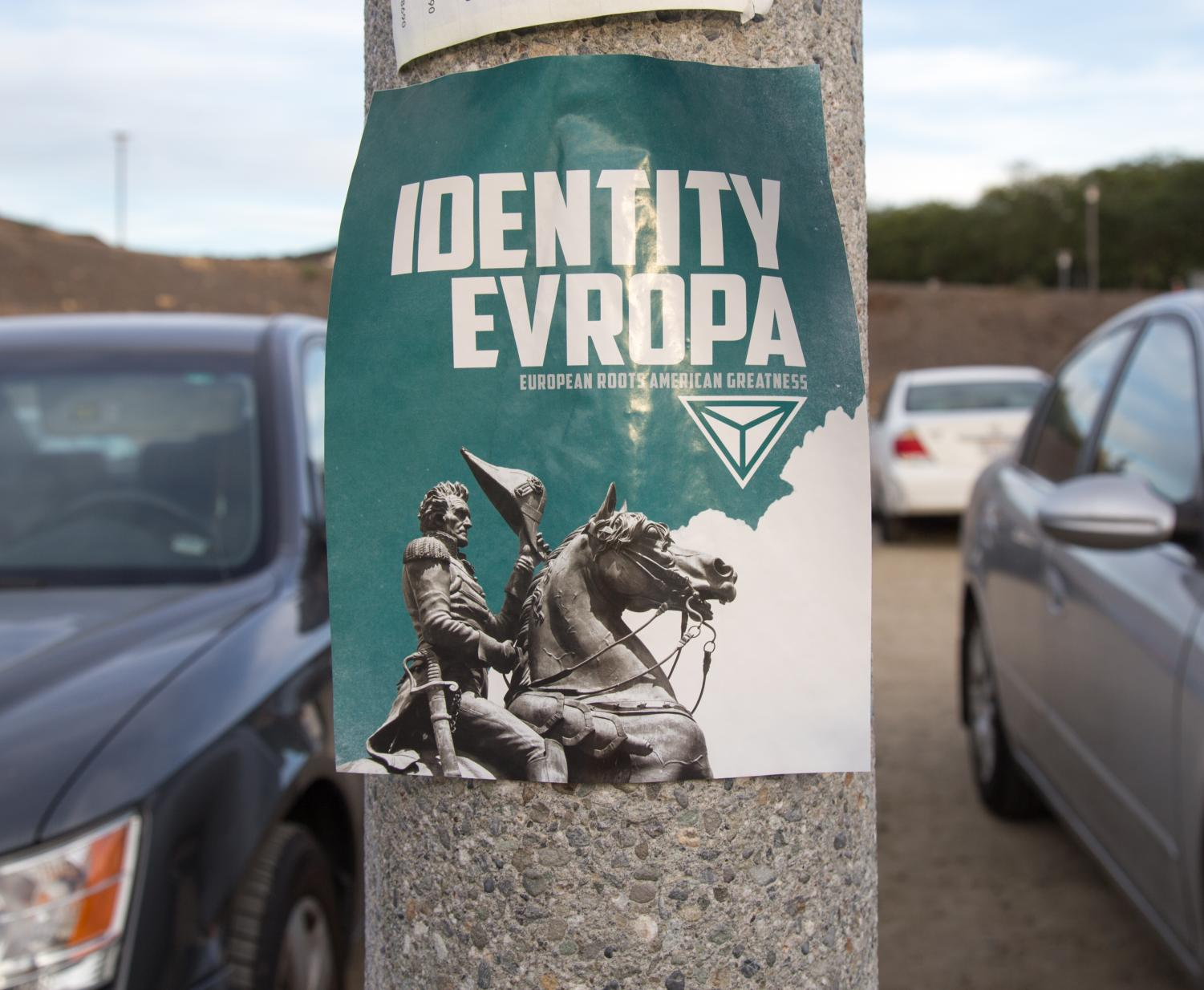 One of the many posters spread by the White Supremacist organization found in the X, Y, Z parking lot.