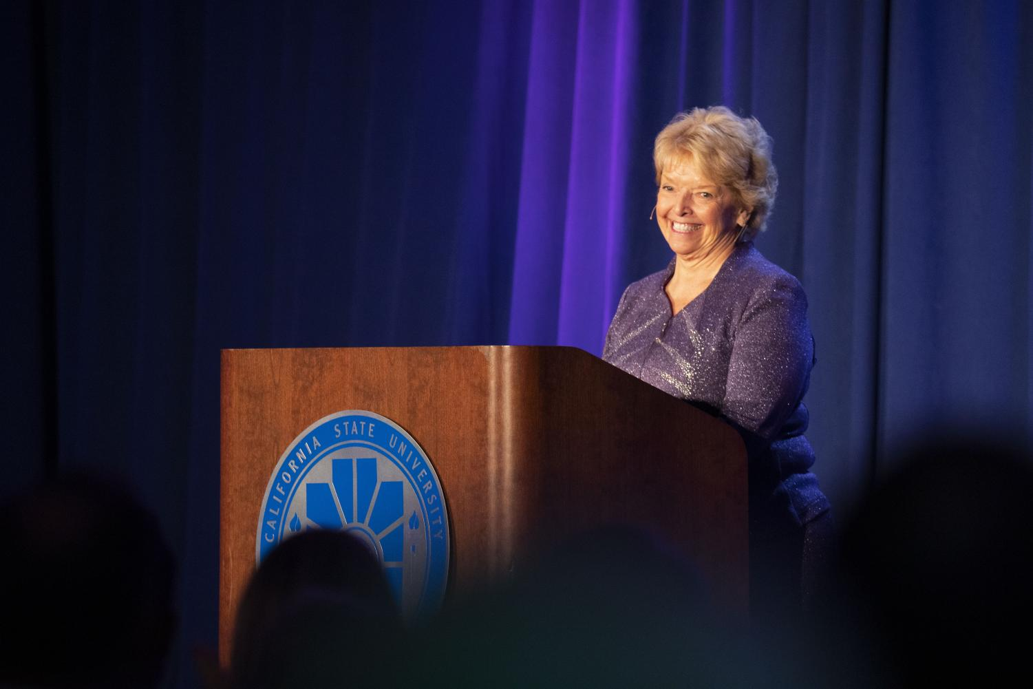 President Haynes addresses the crowd during her final report to the community on Feb.7.