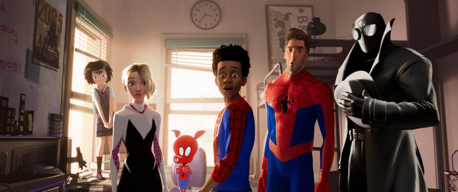 The+animated+superhero+film+stars+Shameik+Moore+as+Miles+Morales+and+Jake+Johnson+as+Spider-man.