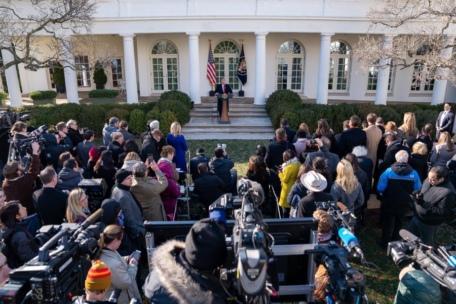 On Jan. 25, President Donald J. Trump delivers remarks on the government shutdown in the Rose Garden.