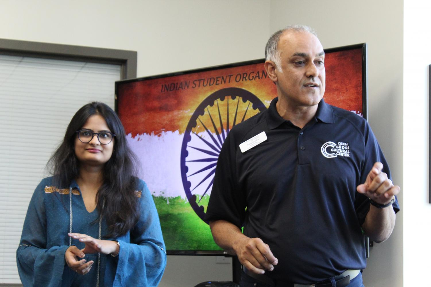 Devanshi Upadhyaya (left) and Tony Chahal (right) share various aspects of their Indian culture at the Cross-Cultural Center.