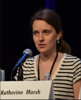 Author, Katherine Marsh, speaks at a conference.
