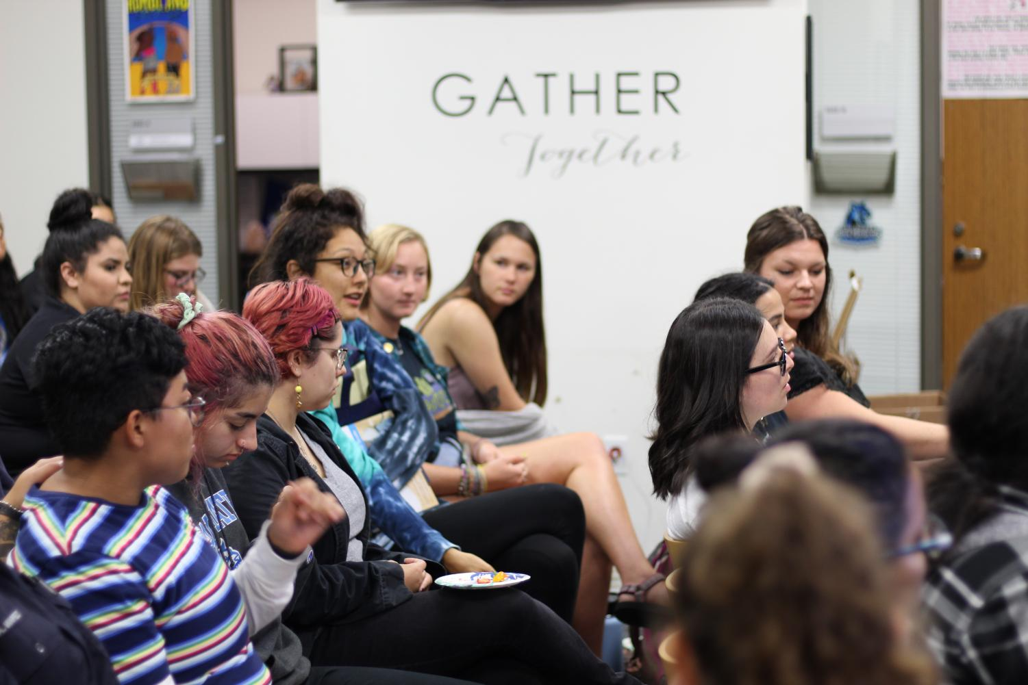 Students share personal experiences at Sustainable Menstruation in the Gender Equity Center.