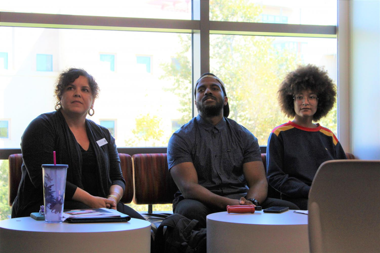 Dr. Anne Macias (left), Pedro Lebron Guzman III (middle), and Danni Flowers (right) share personal stories about their Afro-Latinx heritage.