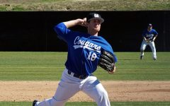 Taylor Ahearn pitches a game for CSUSM in 2017.