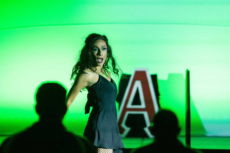 Drag show winner, Anita Marg aka Alex Villa, takes the stage.