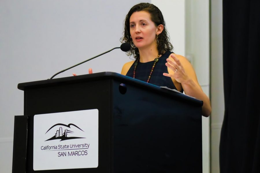 San Diego Tribune's journalist, Kate Morrissey speaks to attendees during a Q&A session on October 23rd.