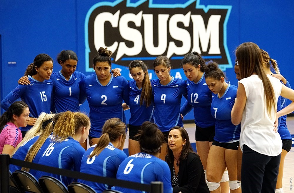 Women's volleyball huddle around the head coach.